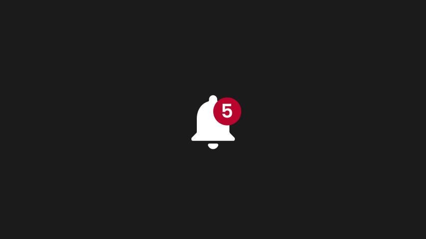 Istanbul-Turkey Social media's notifications.Bell ringing symbol alpha render animation 4k | Shutterstock HD Video #1033096667