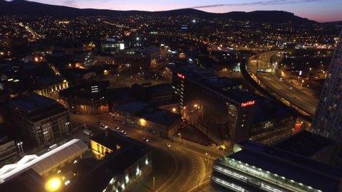 Belfast, Northern Ireland, City Centre Aerial, Dusk.