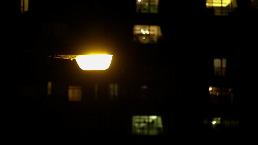 Public lamp in dark night and rain | Shutterstock HD Video #1033176347