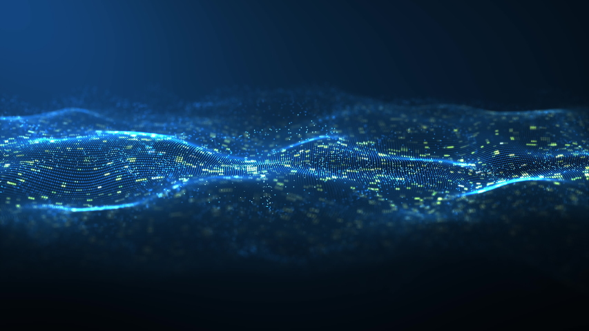 Abstract digital blue color wave with flowing small particles dance motion on wave and light abstract background. Cyber or technology background. | Shutterstock HD Video #1033221347