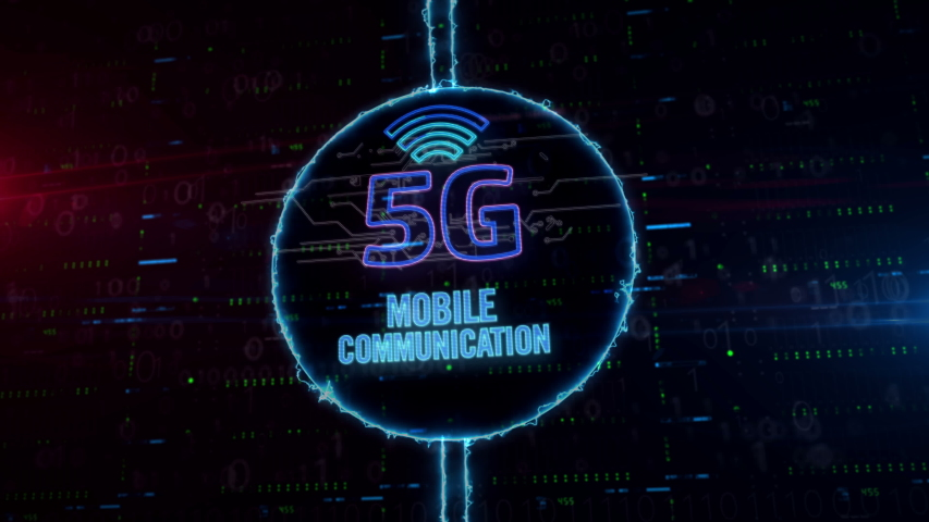 5G symbol hologram in dynamic electric circle on digital background. Modern concept of mobile wireless network, communication technology, data transmition and internet of things. | Shutterstock HD Video #1033239917