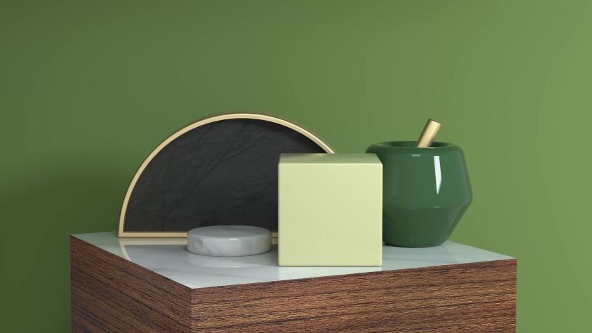 Green scene geometric object wood podium set 3d rendering motion abstarct   Shutterstock HD Video #1033252757