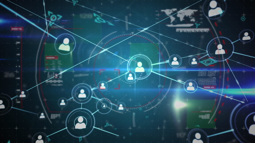 Digital animation of profile icons in circles connected by asymmetrical lines while background shows different graphs with data and a world map. Asymmetrical lines with futuristic symbols move in the   Shutterstock HD Video #1033264397