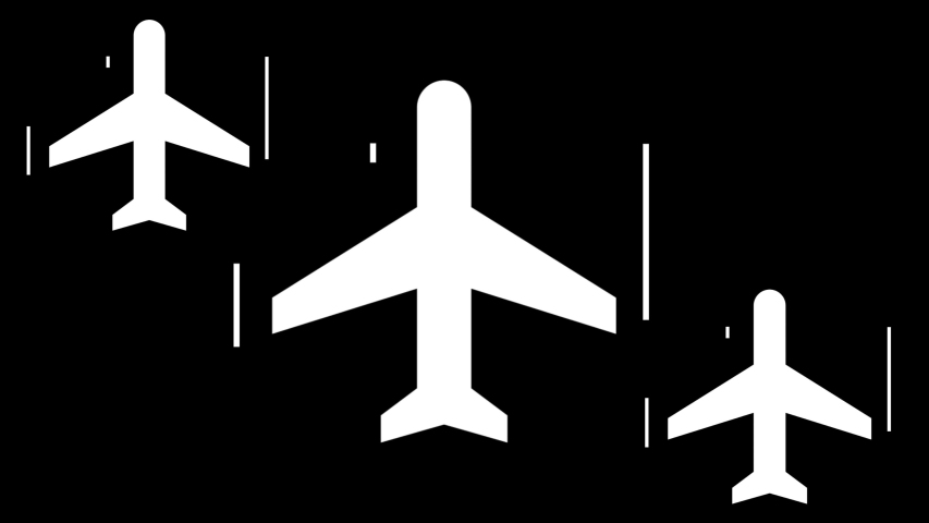 Abstract animation of airplanes-shaped objects synchronically flying above the white stripes on the black background. Animation. White and black animation of air transport.   Shutterstock HD Video #1033313807