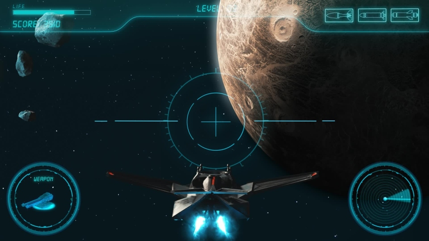 Space Shooter 3D Video Game imitation With Interface. The Spacecraft In Space Destroys The Enemy Crew With A Laser Gun. Planet Jupiter Asteroids And Stars On The Background. | Shutterstock HD Video #1033379027