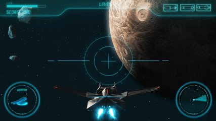 Space Shooter 3D Video Game imitation With Interface. The Spacecraft In Space Destroys The Enemy Crew With A Laser Gun. Planet Jupiter Asteroids And Stars On The Background.