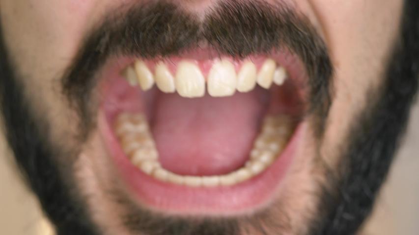 Man with a beard screaming closeup   Shutterstock HD Video #1033386857