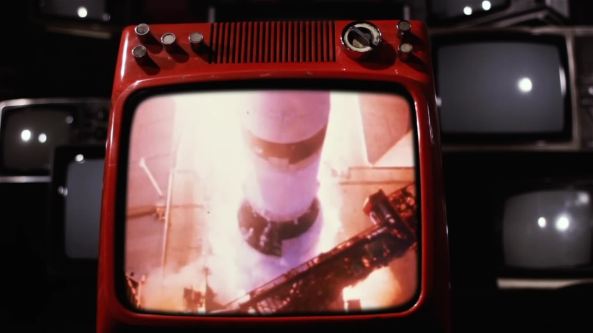 Apollo 11 Rocket Launch in an Old Retro TV. Elements of this Image Furnished by NASA.