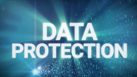 Seamless looping 3d animated digital maze with the word Data Protection in 4K resolution