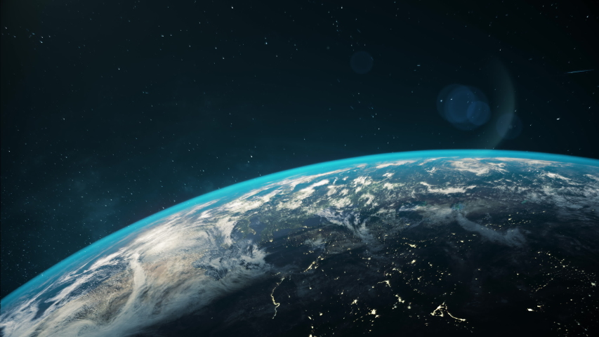 Space view of the Earth with cloud formation. Ultra realistic 3D animation. 4K, 30 fps.  | Shutterstock HD Video #1033568357