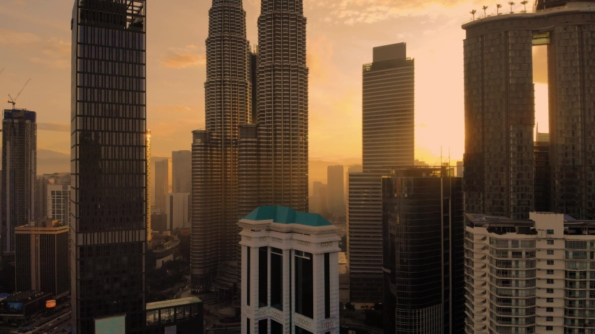 Kuala Lumpur,  panorama of the city center, shooting from air  | Shutterstock HD Video #1033575797