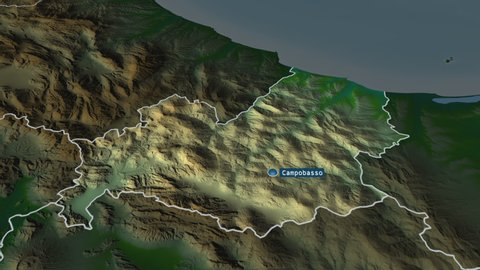 Molise - region of Italy with its capital zoomed on the physical map of the globe