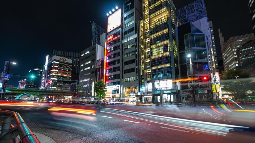 TOKYO, JAPAN - JULY 19TH, 2019. 4K time lapse footage of vehicles at Yurakucho street at night.  | Shutterstock HD Video #1033608077
