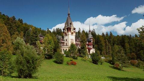 SINAIA, circa 2019 - Postcard shot of the famous Neo-Renaissance Peles Castle in Sinaia, Transylvania, constructed for King Carol I in 1883