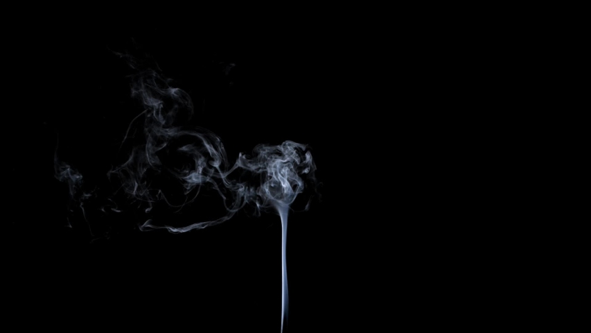 Thin Flexible Trickle of Smoke. Graceful Bends of the Blue Smoke. Natural Colorful smoke rises up and spins into graceful spirals. Footage is perfect for the layer with different blending modes. | Shutterstock HD Video #1033704437