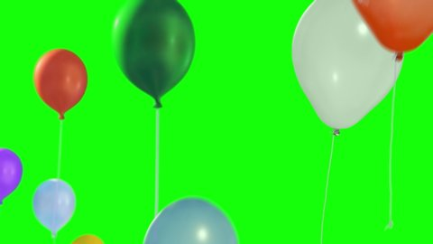Colorful balloons flying in the air. Flying balloons. Multicolored balloons. Balloons rising in the air. Helium balloon with rope. Chroma key. Green screen. Ultra HD - 4K (2160p), ProRes 422, 25 fps.