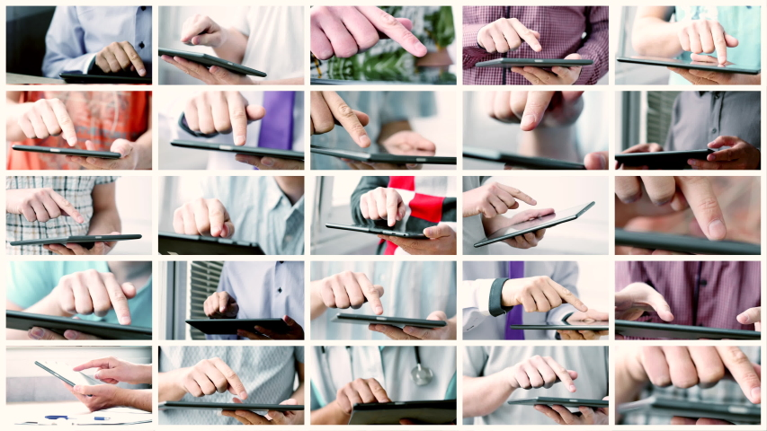 Collage of sliding and typing touch screen of smart phone or tablet computer. Concept of modern digital life. Electronic gadgets in use | Shutterstock HD Video #1033914227