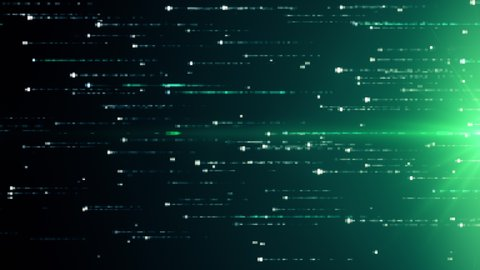 Abstract technology background with animation of fast flying flickering code particles as data transfer. Seamless loop 3d render. Modern green color spectrum