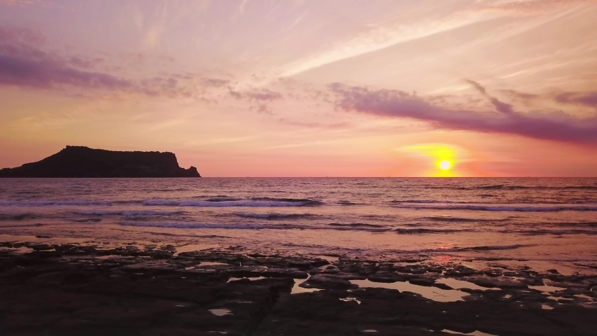 Seascapse in morning sunrise at Jeju island, South Korea. Beautiful seascape in Jeju-do, South Korea. | Shutterstock HD Video #1033958957