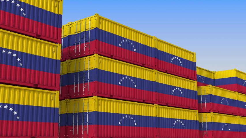 Container yard full of containers with flag of Venezuela. Venezuelan export or import related loopable 3D animation   Shutterstock HD Video #1033968977