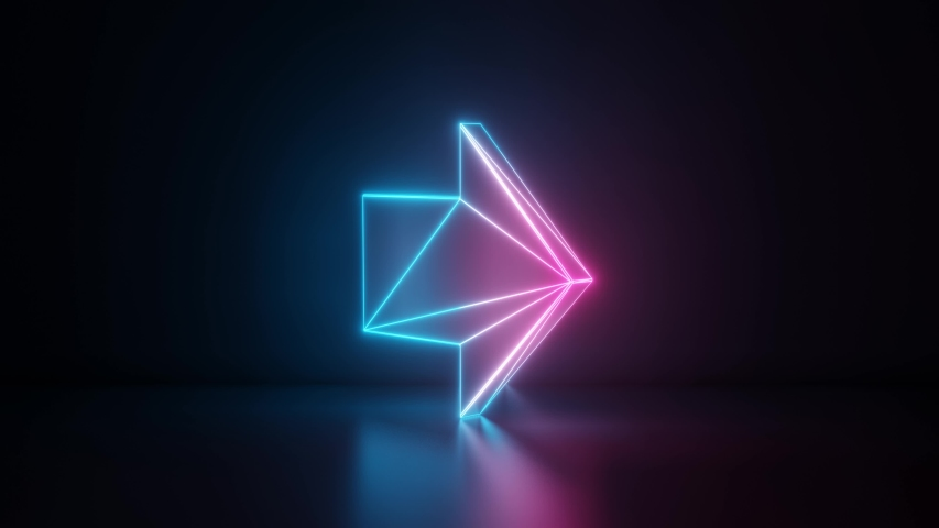 3d rendering glowing blue purple neon laser light with wireframe symbol of right arrow in empty space corner seamless fade animation | Shutterstock HD Video #1033989107