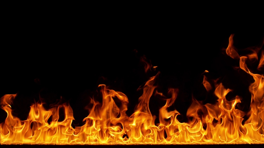 Fire Flames in Super Slow Motion Isolated on Black Background. | Shutterstock HD Video #1034057597