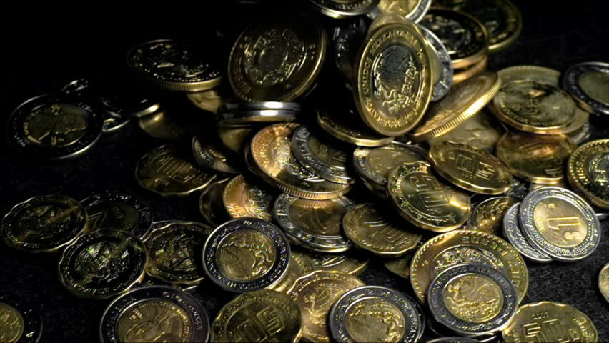 Mexican Peso Coins Falling In a Pile Super Slow Motion | Shutterstock HD Video #10344257