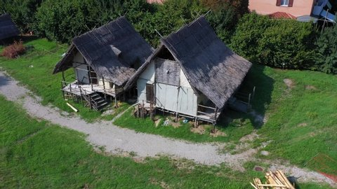 Montale, Castelnuovo Rangone, Modena / Italy - 08/01/2019: archaeological park and open-air modena italia museum of the terramara of montale modena italy