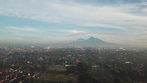 View from the sky of Merapi and Alun-alun Selatan Yogyakarta