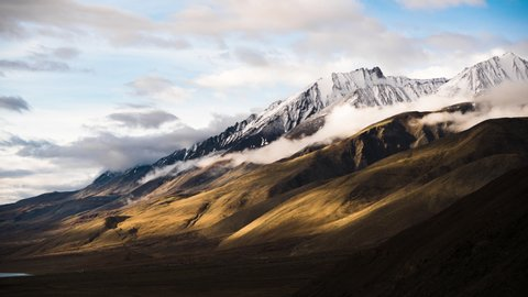 4K Timelapse of beautiful landscape with snow mountain background this way go to Nubra Valley, Leh Ladakh, India