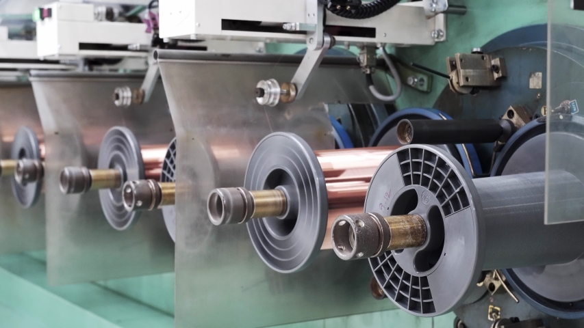 Copper Wire Manufacturing Coating Industry Enameling machine winding process . | Shutterstock HD Video #1034689247