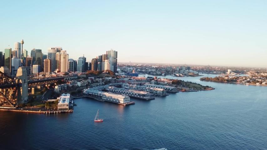 Sydney , New South Wales / Australia - 04 30 2019: Sydney, New South Wales, 30 April 2019 - Sydney Harbour Bridge and Circular Quay #1034713697