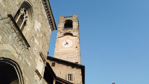 Bergamo, Italy. The old town. Landscape at the clock tower called Il Campanone. It is located in the main square of the upper town