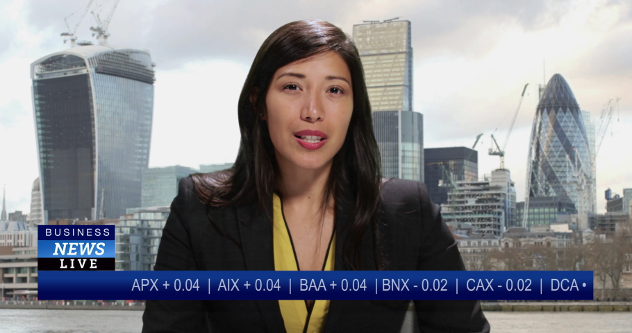 MS Female anchor presenting business news live from City of London | Shutterstock HD Video #1034745557
