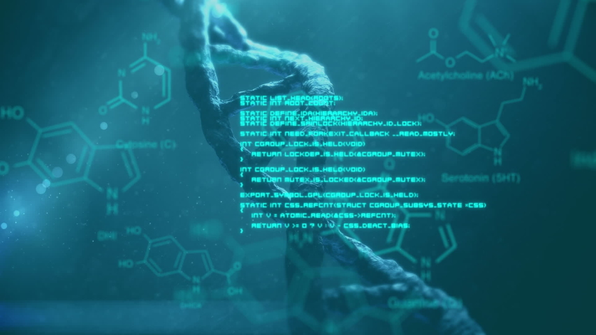 Animation of turning 3d DNA strand and glowing blue text and diagrams moving in the foreground, on dark blue background with shafts of light | Shutterstock HD Video #1034853707