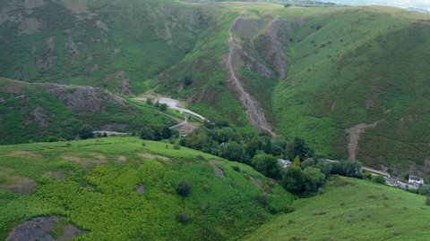 Aerial drone view over green slopes of carding mill valley in church  stretton, shropshire, uk