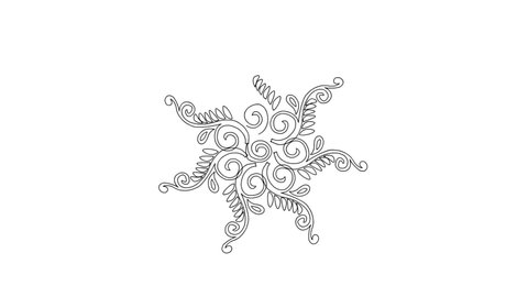 Flower leaves and Spiral shape Mandala drawing - Indian Traditional and Cultural Rangoli, Alpona, Kolam or Paisley line art