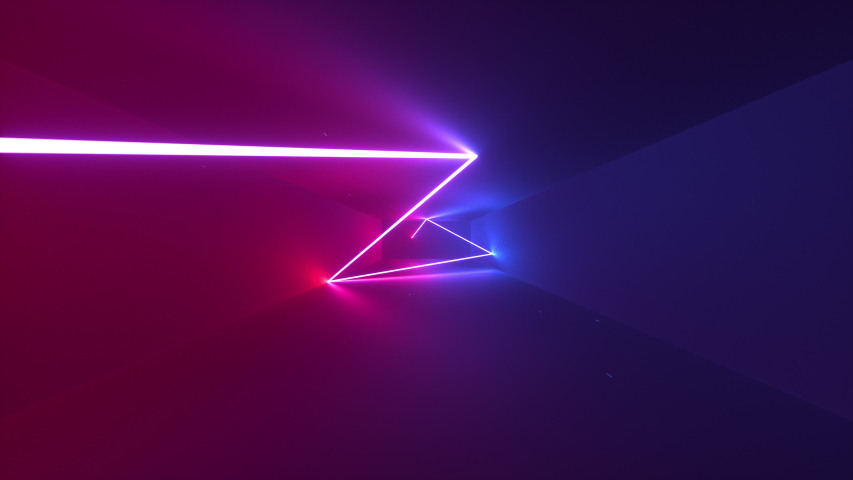 Abstract seamless looped animation of neon, glowing light tubes, lasers and lines bouncing around and moving forward within a dark tunnel with fog and particles.