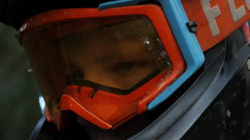 Forest of Dean / United Kingdom (UK) - 05 16 2019: Close up shot of mountain biking goggles