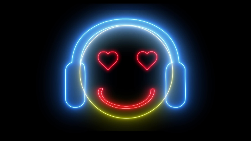 Neon smiley face with headphone. Gamer, DJ emoji, playing game or listening music. Happy glowing face.    Shutterstock HD Video #1035216197