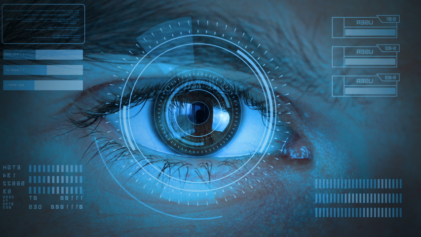 Human eye with futuristic vision system. Control and protection of persons, control and security in the accesses technology. Concept of vision control and protection. Stylized blue cold tint color. | Shutterstock HD Video #1035339797