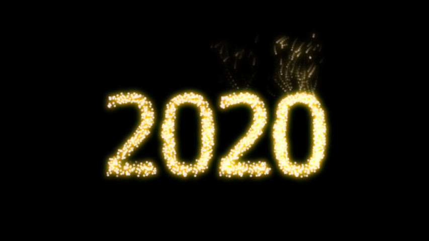 Happy New Year 2020 Video Animation with dynamic particles with alpha clip. For designing animated greeting cards and banners.