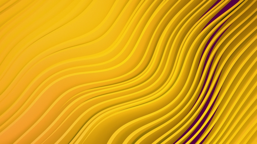 4k 3D animation of rows and rows of colorful popping yellow stripes rippling. Colorful wave gradient animation.. Future geometric patterns motion background. 3d rendering | Shutterstock HD Video #1035366557