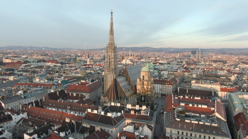 Aerial: Moving Toward and Over St. Stephen's Cathedral in Vienna, Austria | Shutterstock HD Video #1035381077