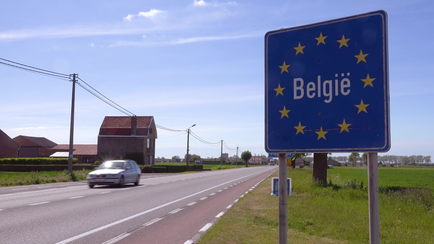BELGIUM - CIRCA 2018 - A road sign welcomes visitors to Belgium Belgiee, European Union. | Shutterstock HD Video #1035463457