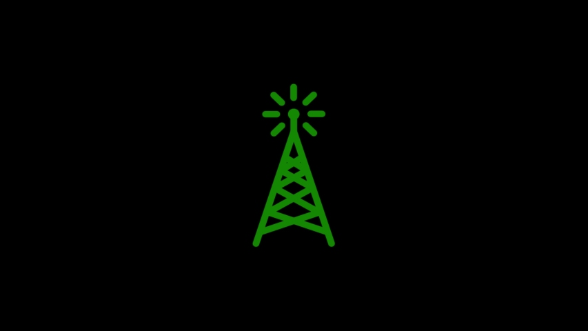 Antenna Icon animation on black background. Icon design.Video animation.4K resolution video. | Shutterstock HD Video #1035473027