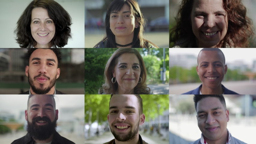 Smiling men and women looking at camera. Multiscreen montage, split screen collage. Ethnicity variation concept