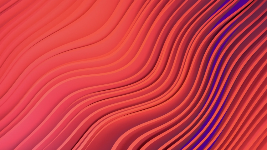 3D animation of orange stripes on purple background waving and swaying.  Future geometric patterns motion background. Rendering in 4K | Shutterstock HD Video #1035771707