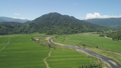 Mountain valley with river, farmland, rice fields. Aerial view of Mountains with green tropical rainforest, trees, jungle with blue sky. Philippines, Luzon.