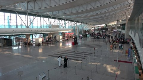 Esenboga Airport, Ankara, Turkey - 3d of August 2019: 4K Nearly empty departure check-in area